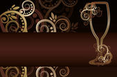 Wine glass with swirls invitation card, vector illustration — Stock Vector