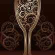 Golden wineglass with floral pattern, vector  — Stock Vector
