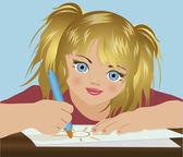 かわいい女の子のフェルト ペン、ベクトル図を描画します。 — ストックベクタ