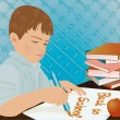 Young boy writing in a school notebook, vector illustration — Vector de stock