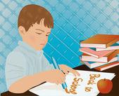 молодой мальчик, писать в школьной тетради, векторные иллюстрации — Cтоковый вектор