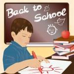 Schoolboy writing in a notebook, vector illustration — Stock Vector #27806981