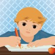 Young cute boy writing sun in a school notebook, vector illustration — ストックベクタ