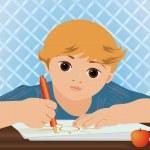 chico guapo joven escribiendo sol en un cuaderno escolar, ilustración vectorial — Vector de stock