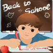 "Schoolboy writing ""Back to school"", vector illustration — Imagens vectoriais em stock"
