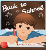 """Scolaro scrivendo """"back to school"""", vettoriale illustrazione — Vettoriale Stock"""