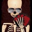 图库矢量图片: Skeleton gambler with sunglasses poker, vector