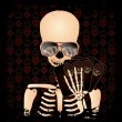 Skeleton gambler with poker cards, vector illustration — Stok Vektör