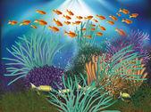 Underwater natural wallpaper. vector illustration — Stock Vector