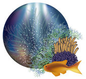 Underwater world banner, vector illustration — Stock Vector