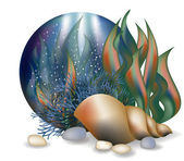 Underwater world card with seashell, vector — Cтоковый вектор