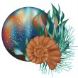 Underwater world banner with seashell, vector illustration — Stock Vector #28591189