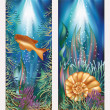 Underwater world two banners with golden fish and seashell , vector illustration — Stock Vector