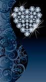 Láska svatba banner s brilantní srdce, vektorové ilustrace — Stock vektor