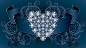 Wedding invitation card with ribbon and diamond heart, vector illustration — Stock Vector