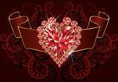 Bandera de amor boda con corazón de rubí, ilustración vectorial — Vector de stock