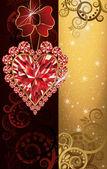 Wedding invitation blank with ruby heart, vector illustration — Stock Vector
