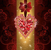Love wedding invitation card with ruby heart, vector illustration — 图库矢量图片