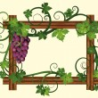 Wooden frame with grapes, vector illustration  — Stock Vector