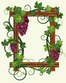 Wooden frame with leafs and grapes, vector illustration — Vector de stock