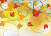 Autumn card with maple leaves, vector illustration — Stock Vector