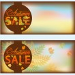 Set autumn sale banners, vector illustration — Stock Vector
