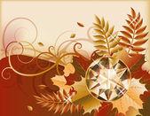 貴重な宝石、ベクター グラフィックと秋のはがき — Stockvektor