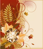 Autumn postcard with precious gemstone, vector illustration — Stockvektor