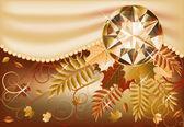 Autumn card with precious gemstone, vector illustration — Stock Vector