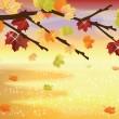 Cute Autumn background, vector illustration — Stock Vector