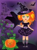 Happy halloween. Young witch with a bat. vector — Stock Vector
