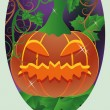 Trick or Treat Halloween card, Pumpkin, vector illustration — Stock Vector