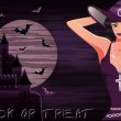 Happy halloween background with sexy witch, vector illustration — Stock Vector
