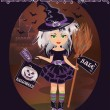 Halloween sale card with little witch, vector illustration — Stock Vector #31624825