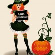 Happy Halloween sexy witch and pumpkin, vector illustration — Stock Vector