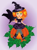 Halloween little witch and bat, vector illustration — Stock Vector