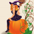 Happy Halloween sexy witch and pumpkin, vector illustration — Stock Vector #31775525