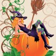 Halloween sexual witch and pumpkin, vector illustration — Stock Vector
