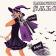 Halloween sale postcard with sexy witch, vector illustration — Stock Vector
