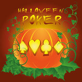 Poker halloween card. vector illustration — Stock Vector