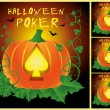 Set Poker Halloween cards, vector illustration — Stock Vector