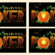 Poker halloween banners, vector illustration  — Stock Vector