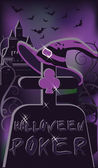 Halloween poker kyrkogård, vektor illustration — Stockvektor