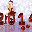 New 2014 year background with sexy santa girl , vector illustration — Stock Vector