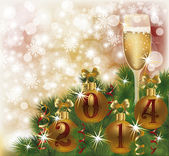 Happy New 2014 Year greeting card with champagne, vector illustration — Stock Vector