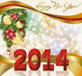 новый 2014 год, поздравительная открытка, векторная иллюстрация — Cтоковый вектор