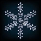 钻石圣诞雪花卡片,矢量图 — 图库矢量图片