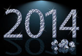 New 2014 Year with diamonds, vector illustration — Stock Vector