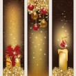 Three christmas golden banners, vector illustration  — Stock Vector