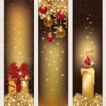 Three christmas golden banners, vector illustration — Stock Vector